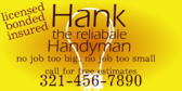 Reliable Handyman, No Job Too Big