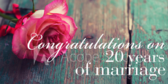 Congratulations On  20 Years Of Marriage