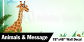 "78"" X 48"" Jungle Collection Animals With Message Wallpaper"