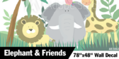 "78"" X 48"" Jungle Collection Elephant & Friends Wallpaper"