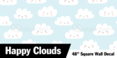 """48"""" Square Clouds, Hearts and Stars"""