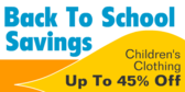 Back To School Savings Childrens Clothing