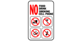 NO food, drink, smoking, cell phone