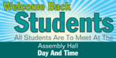 Welcome Back All Students