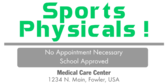 Sports Physicals No Appointment Necessary