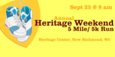 Annual Heritage Weekend 5 Mile/5K Run