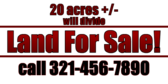 20 Acres for Sale, Will Divide