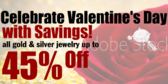 45% Off Valentine's Day Jewelry Banner