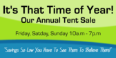 Tent Sale, It's That Time Of Year