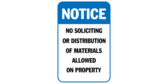 Notice no soliciting or distribution of materials