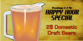 Happy Hour Draft Beer Pitcher Specials