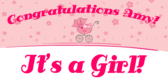 Its a Girl Baby Shower Congratulations Banner
