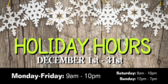 Holiday Hours Banner