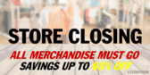 Closing Sale Sign Panel