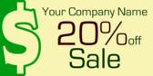 20% Off Dollar Sign