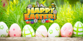 Happy Easter With Colorful Eggs Banner