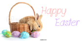 Happy Easter Bunny in Basket Banner