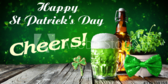 St Patricks Day Cheers Draft Beer Banner