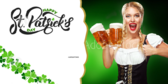 St Patricks Day Waitress Serving Beer Banner