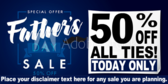 Percent Off Father's Day Tie Sale Banner