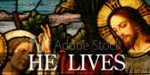 Stained Glass Series He Lives Banner