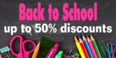 Back to School 50% Discount Sale Sign