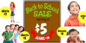 Back to School Kids Clothes Sale Banner