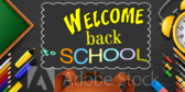 Welcome Students Back to School Chalkboard Collage Banner