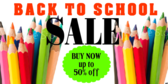 Back to School Supplies Sale Sign