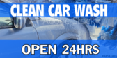 Open 24hrs Car Wash  Clean Banner
