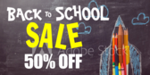Back to School Percent Off Sale Banner