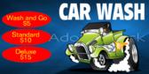 Car Washing Wash and Go Banner