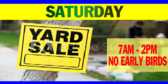 Yard Sale Announcing the Time Design