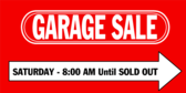 Garage Sale with Arrow Design