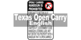 Open Carry Handguns Prohibited Sign for Texas Penal Code Sec. 30.07 English
