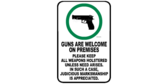 Guns Welcome but Keep Holstered Sign