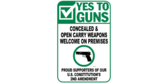 Yes to Carrying or Concealing Guns On Property Sign