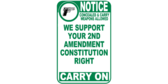 We Support Your 2nd Amendment Rights Guns Allowed Sign