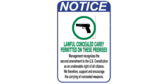 Lawful Conceal and Carry Firearms Permitted Sign
