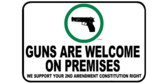 We Support Your 2nd Amendment Rights Guns Allowed Wide Sign