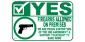 Yes to Carrying or Concealing Guns On Property Wide Format Sign