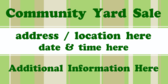 Community Yard Sale Additional Information Here