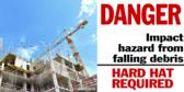 Danger Head Impact Hazard Falling Debris Sign