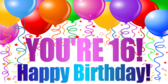 You're 16 Birthday Banner