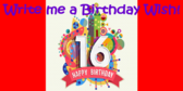 Write a 16th Birthday Wish Banner
