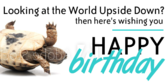 Funny Looking at the World Upside Down Birthday Saying