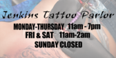 Tattoos Store Hours of Operation