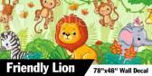 "78"" X 48"" Jungle Collection Lion Wallpaper"