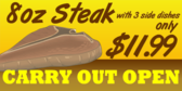 Steak House Carry Out Open