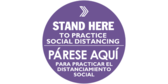 Stand here social distancing English and Spanish